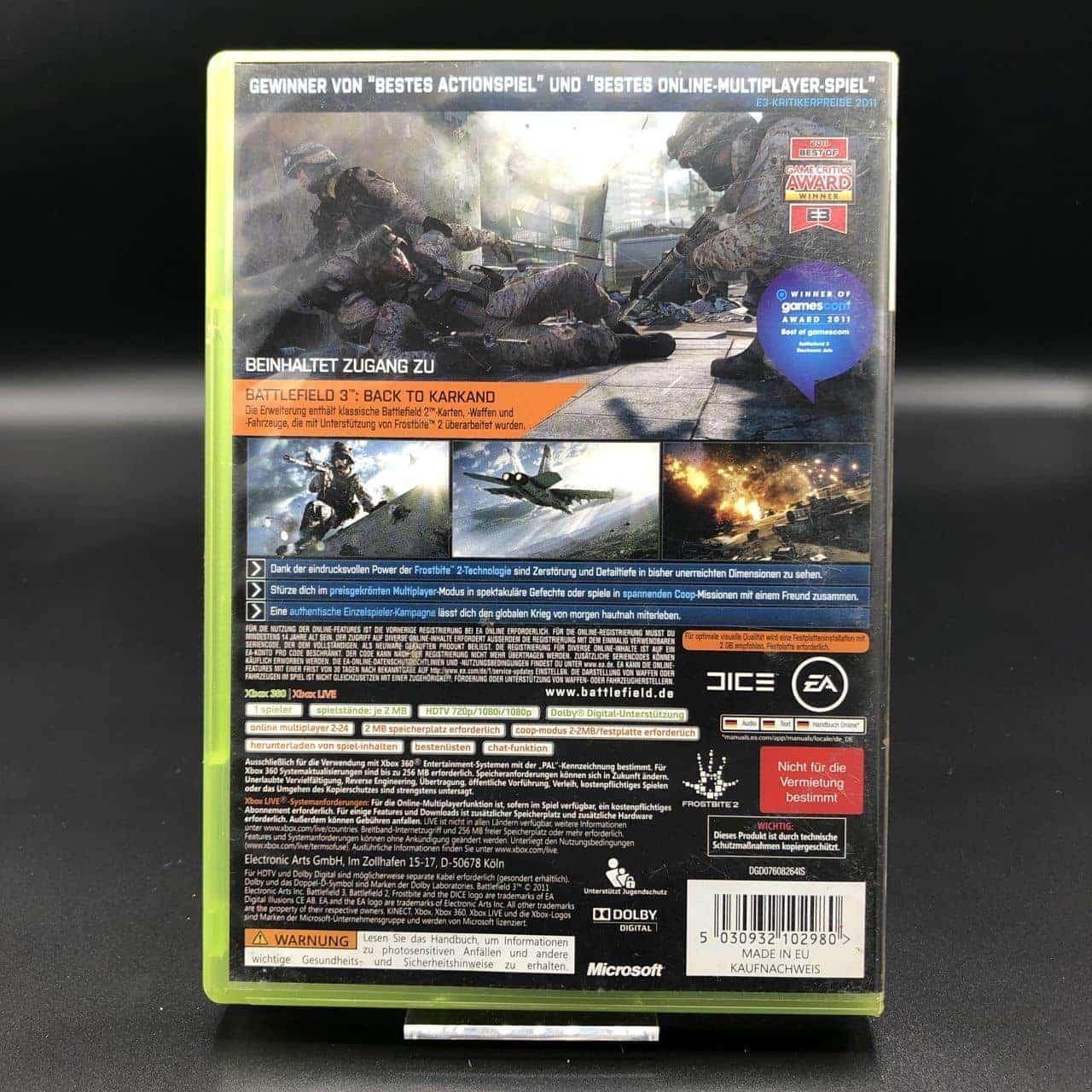 Battlefield 3 (Limited Edition) (ohne Anleitung) (Sehr gut) XBOX 360 (FSK18)