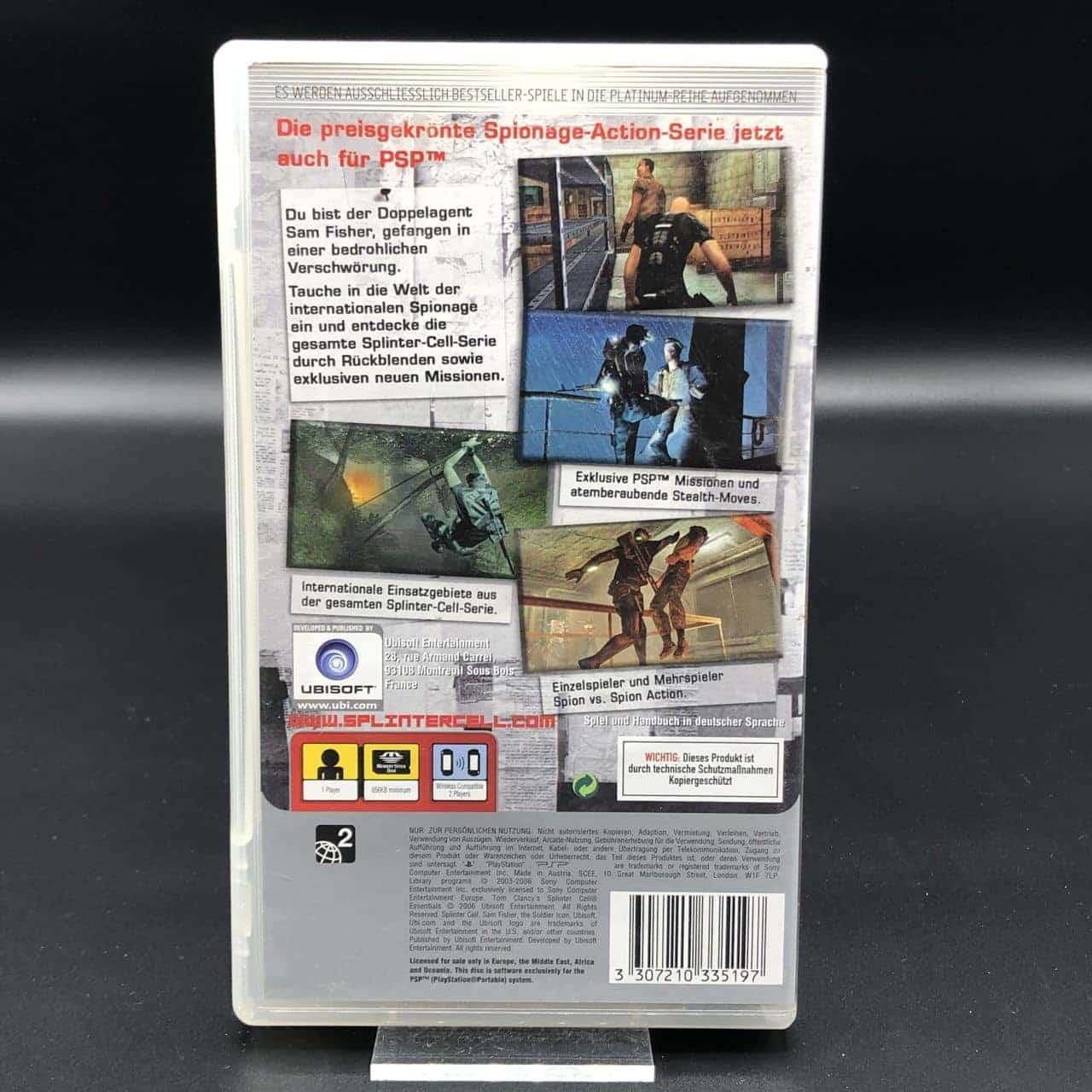 PSP Tom Clancy's Splinter Cell: Essentials (Platinum) (Komplett) (Gut) Sony PlayStation Portable