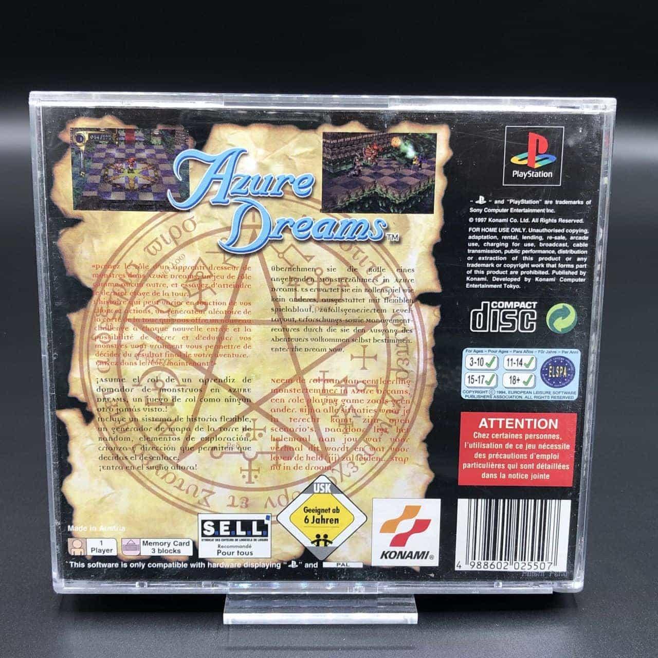 PS1 Azure Dreams (ohne Front Cover, mit Anleitung) (Gebrauchsspuren) Sony PlayStation 1