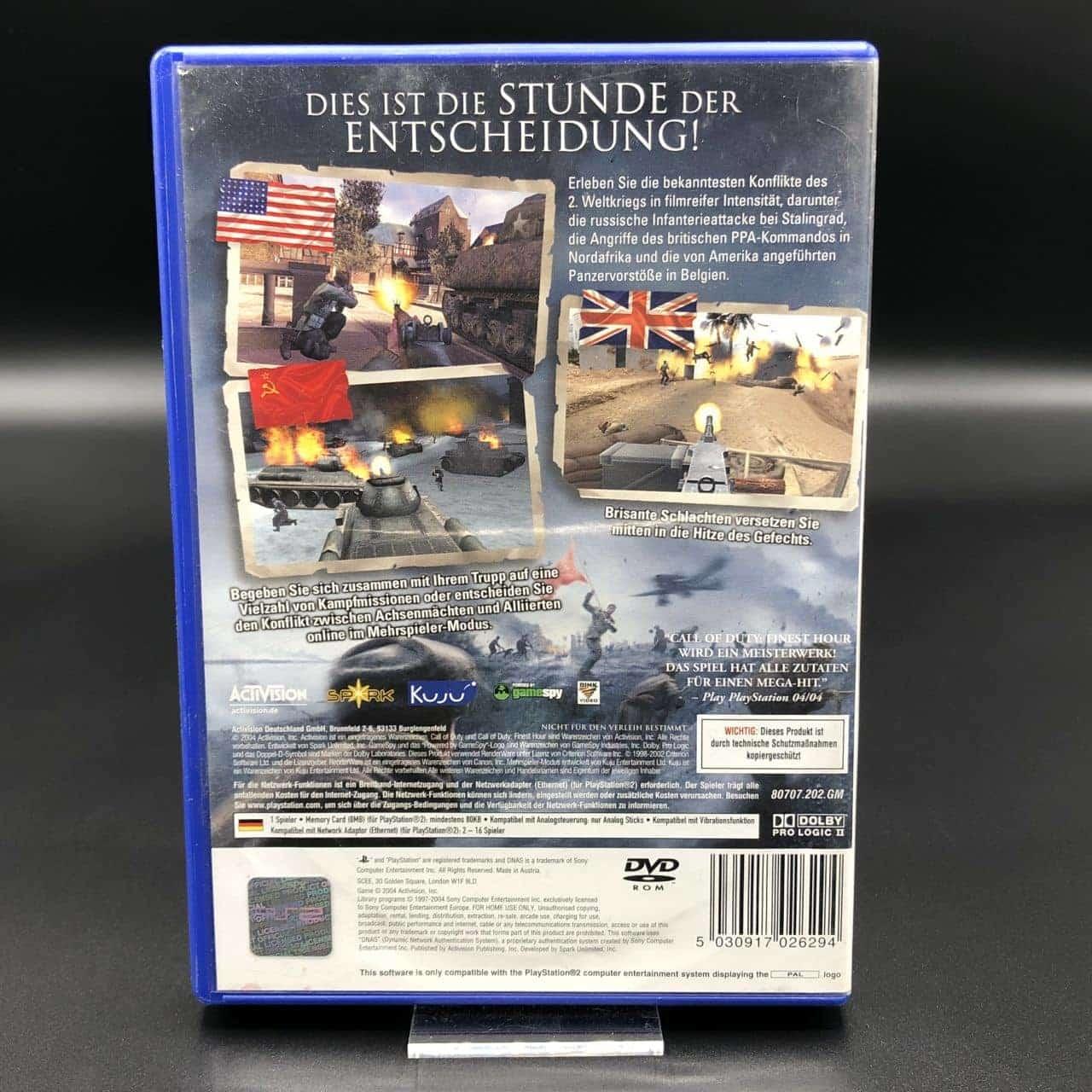 PS2 Call of Duty: Finest Hour (ohne Anleitung) (Gebrauchsspuren) Sony PlayStation 2 (FSK18)