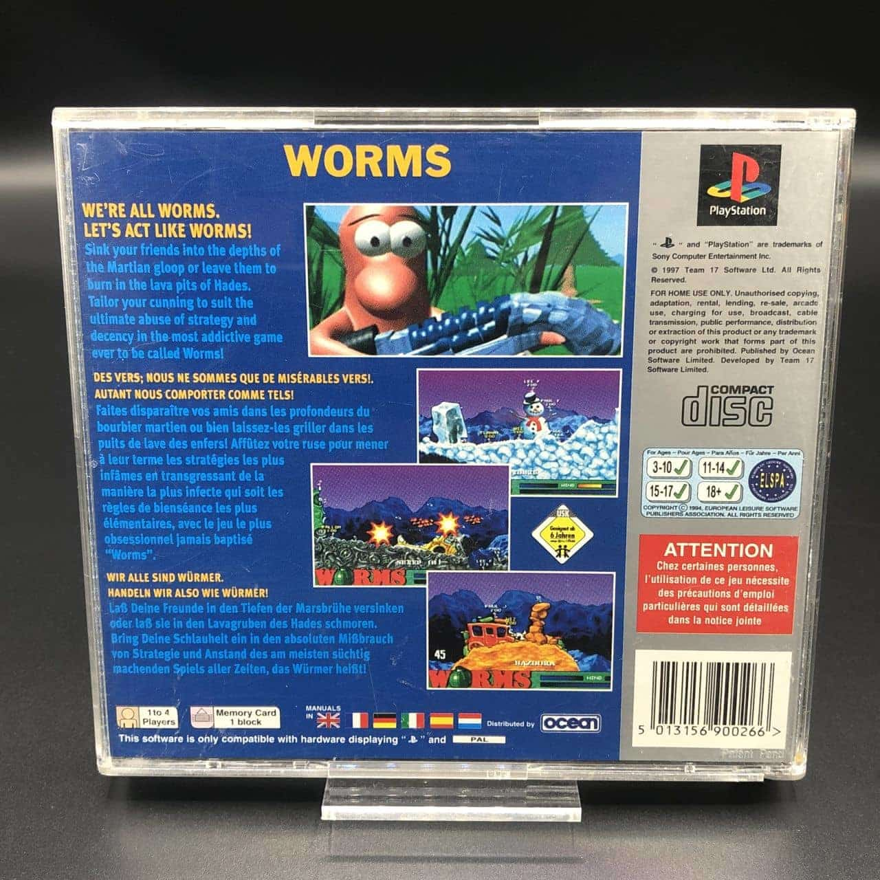 PS1 Worms (Platinum) (ohne Front Cover, mit Anleitung) (Gut) Sony PlayStation 1