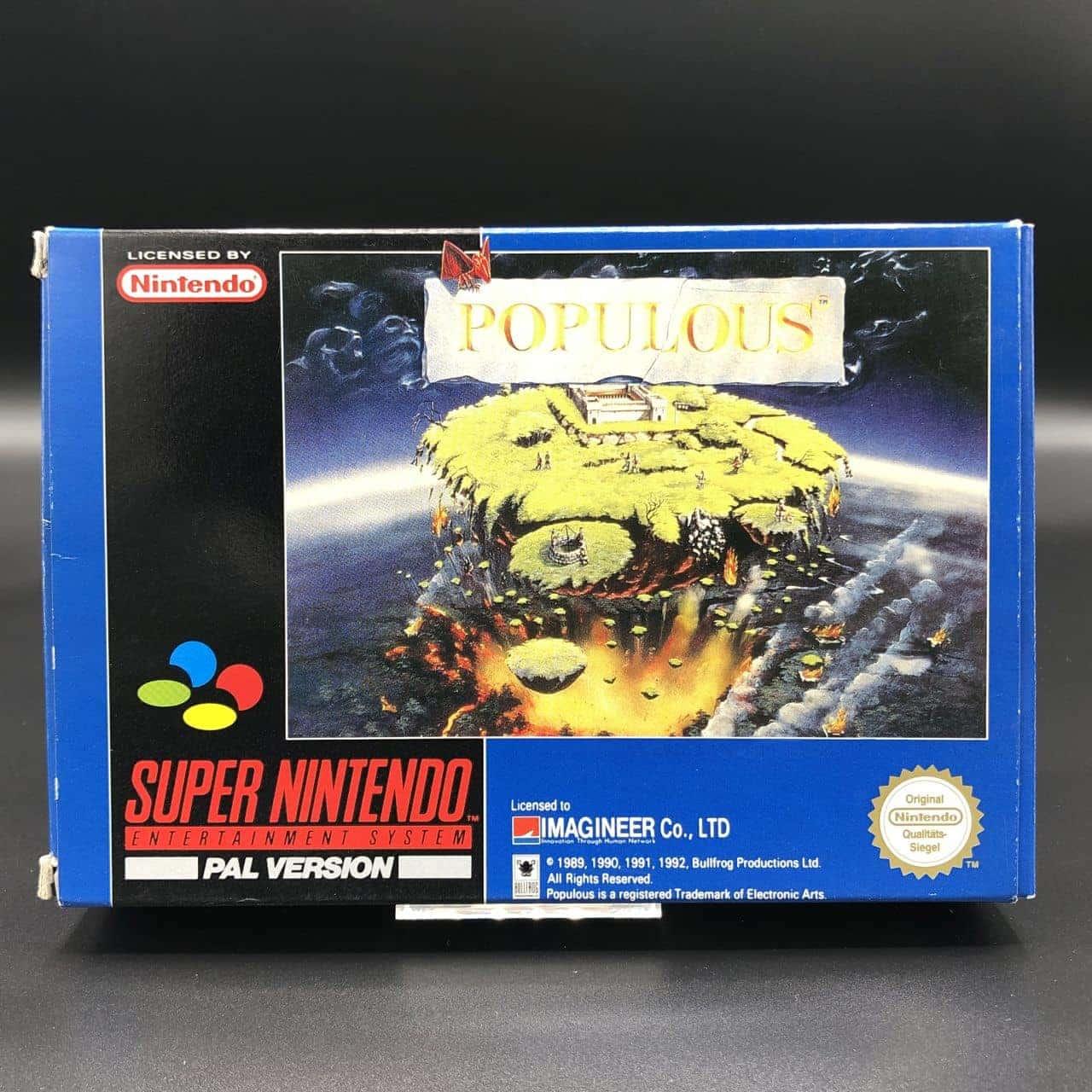 SNES Populous (Komplett, ohne Inlay) (Gut) Super Nintendo