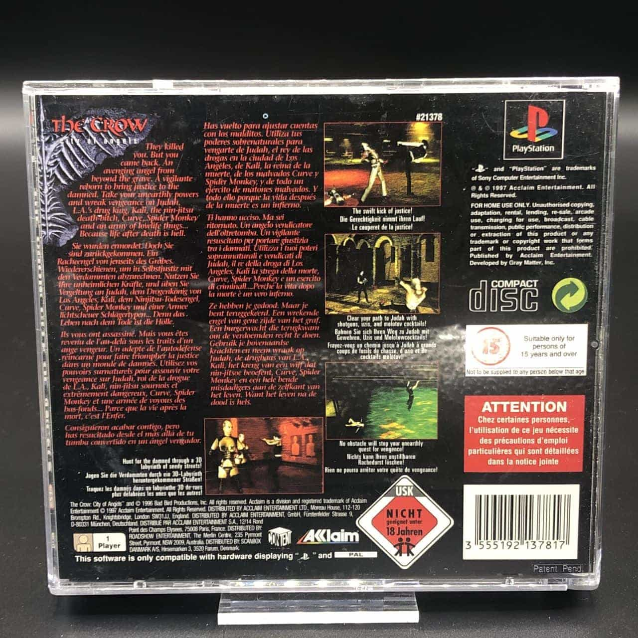 PS1 The Crow: City of Angels (Komplett) (Gut) Sony PlayStation 1 (FSK18)
