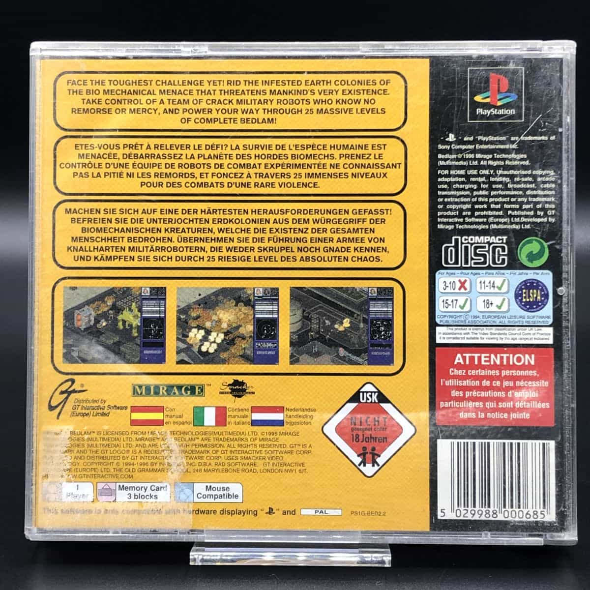 PS1 Bedlam (Komplett) (Gebrauchsspuren) Sony PlayStation 1 (FSK18)