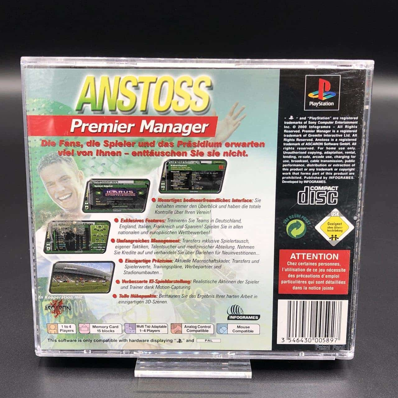 PS1 Anstoß Premier Manager (Komplett) (Sehr gut) Sony PlayStation 1