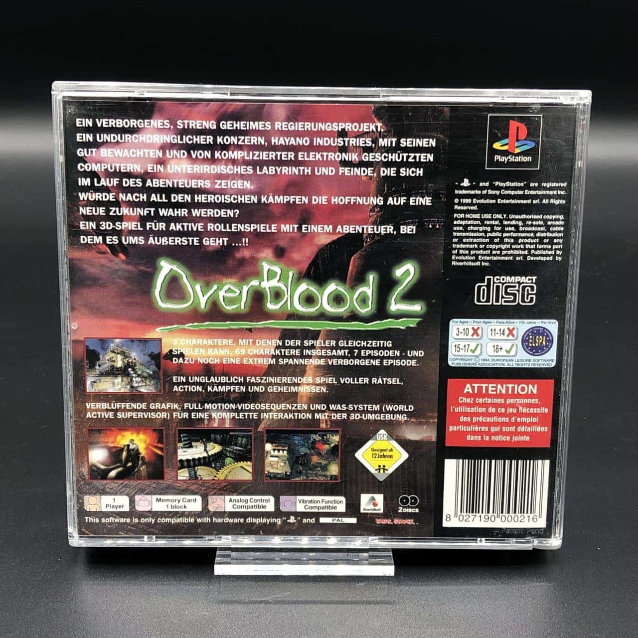 PS1 OverBlood 2 (Komplett) (Sehr gut) Sony PlayStation 1