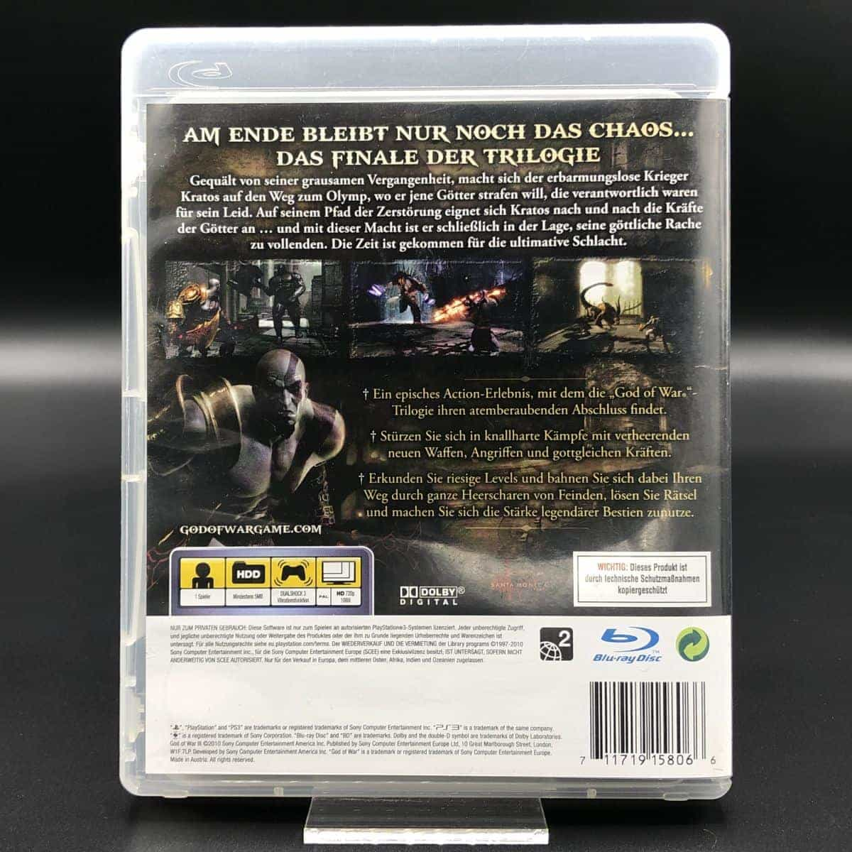 PS3 God of War III (Komplett) (Sehr gut) Sony PlayStation 3 (FSK18)